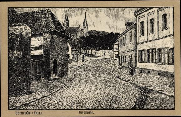Künstler Ak Gernrode Quedlinburg im Harz, Gerostraße