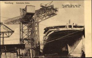 Ak Hamburg, Kuhwerder Hafen, größter Kran und grösstes Schiff der Welt