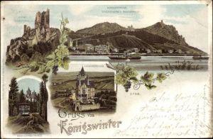 Litho Königswinter am Rhein, Ruine Drachenfels, Ortsansicht, Drachenburg, Zahnradbahn n. Drachenfels