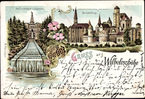 Litho Bad Wilhelmshöhe Kassel, Herkulessäule, Kaskaden, Löwenburg