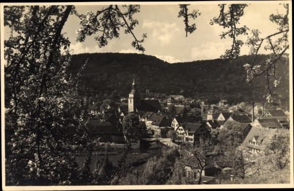 Foto Ak Künzelsau im Hohenlohekreis Baden Württemberg, Kirche, Stadtpanorama