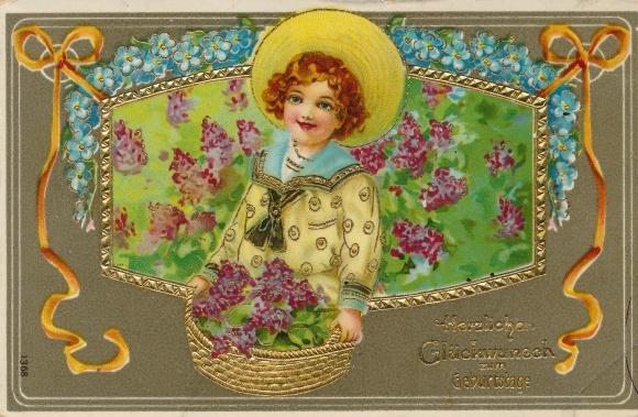 Ak Glückwunsch Geburtstag, Jung mit Blumen, Vergissmeinnicht