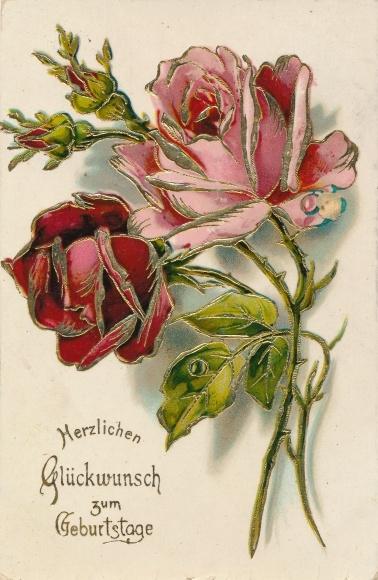 Ak Glückwunsch Geburtstag, Rosenblüten, Blumen