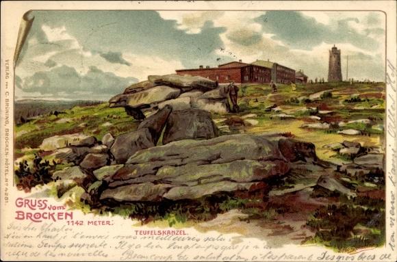 Künstler Litho Spindler, Erwin, Brocken Nationalpark Harz, Brockenhaus, Teufelskanzel