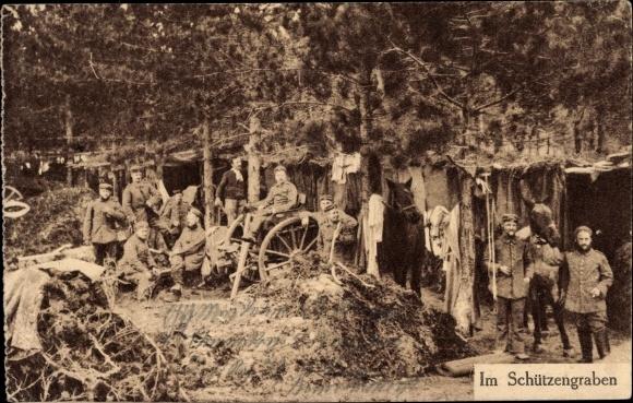 Ak Im Schützengraben, Deutsche Soldaten, Pferd, I. WK