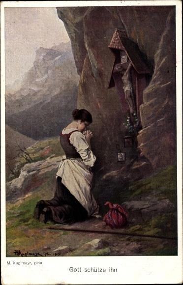 Künstler Ak Kuglmayr, M., Gott schütze ihn, betende Frau