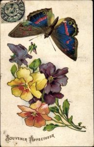 Litho Souvenir Affectueux, Schmetterling, Stiefmütterchen