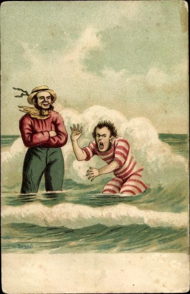 Künstler Präge Litho Brand, Mann im Badeanzug im Meer, Welle