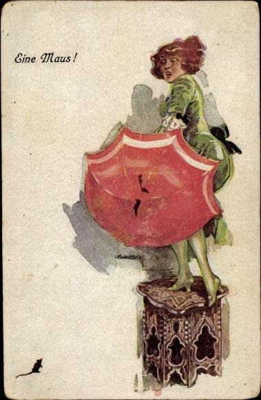 Künstler Ak Usabal, Luis, Eine Maus, Frau, Regenschirm