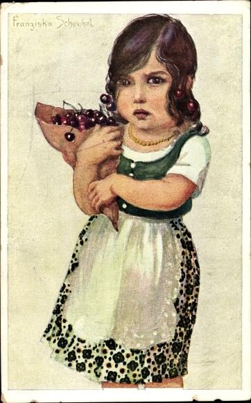 Künstler Ak Schenkel; Franziska, Mädchen mit Kirschen