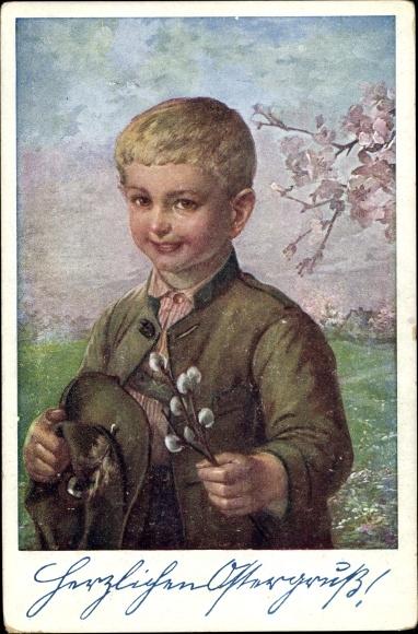 Ak Glückwunsch Ostern, Junge, Weidenkätzchen, Deutscher Schulverein 146