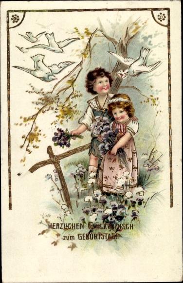 Präge Litho Glückwunsch Geburtstag, Junge, Mädchen, Tauben, Blumenstrauß