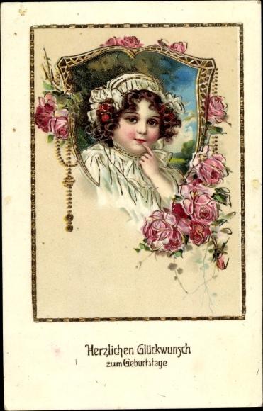 Präge Litho Glückwunsch Geburtstag, Mädchen, Rosenblüten