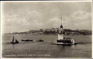 Ak Konstantinopel Istanbul Türkei, La Pointe du Séray et la Tour de Léandre