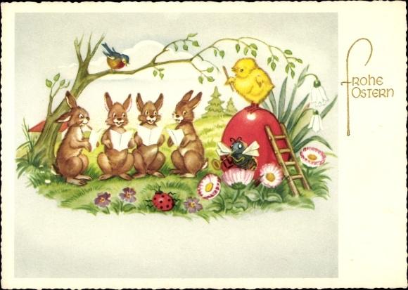 Ak Glückwunsch Ostern, Osterhasen, Küken, Osterei, Marienkäfer