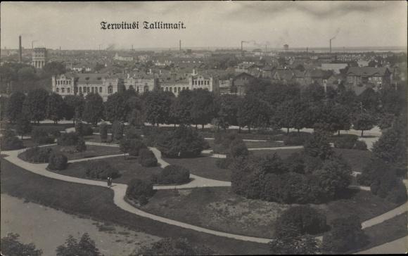 Ak Tallinn Reval Estland, Panoramablick auf die Stadt