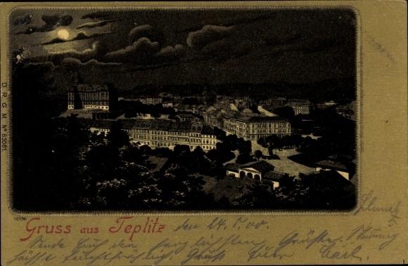 Mondschein Litho Teplice Teplitz Schönau Reg. Aussig, Totalansicht bei Nacht