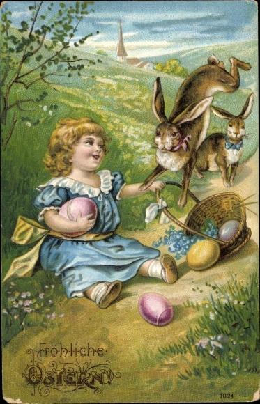 Präge Ak Glückwunsch Ostern, Osterhasen, Ostereier, Kind