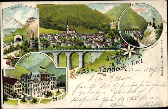 Litho Landeck in Tirol, St. Anton, Hotel Post, Burg