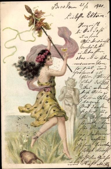 Litho Junge Frau, Satyr spielt auf der Flöte