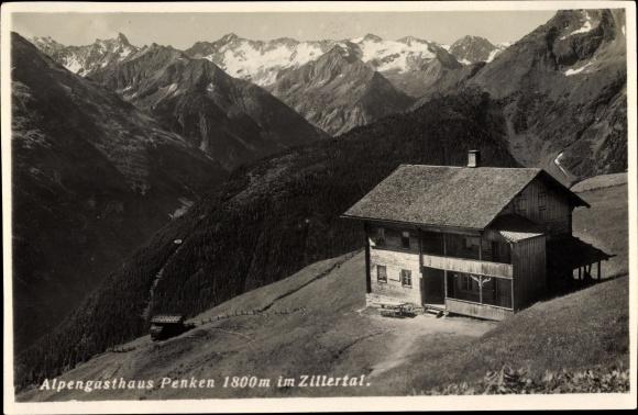 Ak Zillertal Tirol, Alpengasthaus Penken, Gebirgspartie