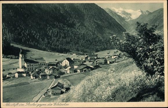 Ak Neustift im Stubaital Tirol, Totalansicht, Gletscherpartie