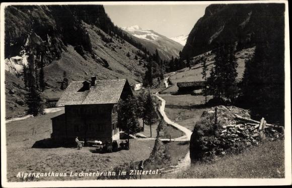 Ak Zillertal Tirol, Alpengasthaus Lacknerbrunn, Gebirgspartie