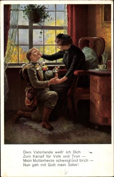 Künstler Ak Dem Vaterlande weih' ich Dich, Soldat, Mutter, I. WK