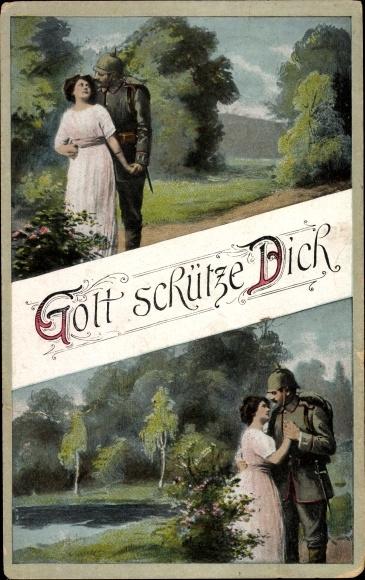 Ak Gott schütze Dich, Soldat, Frau, Soldatenliebe