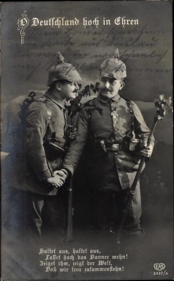 Ak Deutschland hoch in Ehren, Soldaten, Pickelhaube, EAS 2437 4