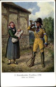 Künstler Ak Müller, Gustav, Kursächsischer Postillon um 1780 bläst zur Abfahrt