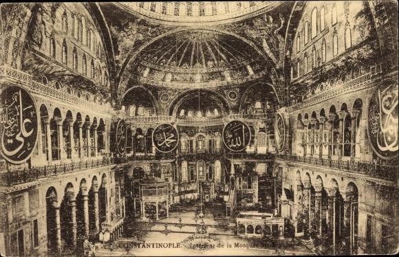 Ak Konstantinopel Istanbul Türkei, Intérieur de la Mosquée Sainte Sophie
