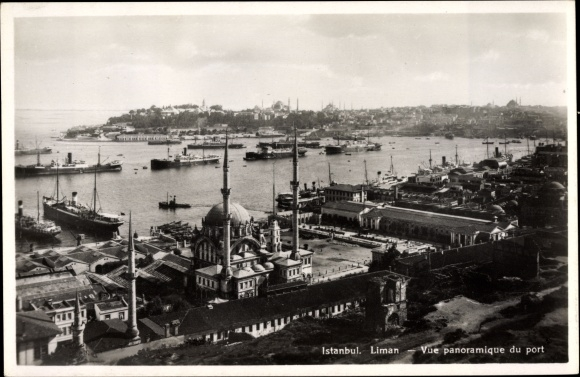 Ak Konstantinopel Istanbul Türkei, Vue panoramique du port