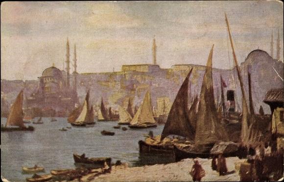 Künstler Ak Macco, Georg, Konstantinopel Istanbul Türkei, Blick auf Konstantinopel
