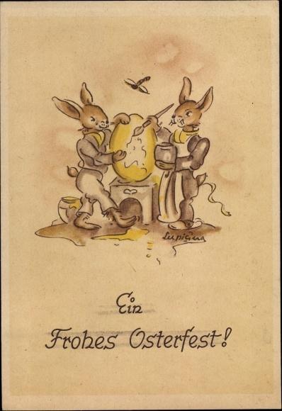 Künstler Ak Glückwunsch Ostern, Osterhasen, Ostereier