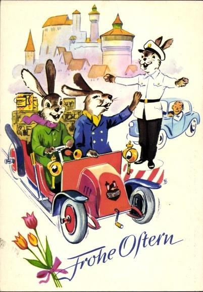 Ak Glückwunsch Ostern, Osterhasen, Auto, E. Otto Schmidt, Lebkuchen