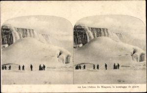 Stereo Ak Les Chutes du Niagara, la montagne de glace, Niagarafälle im Winter