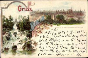 Litho Berlin Kreuzberg, Victoria Park, Wasserfall, Teilansicht der Stadt, von Kreuzberg gesehen