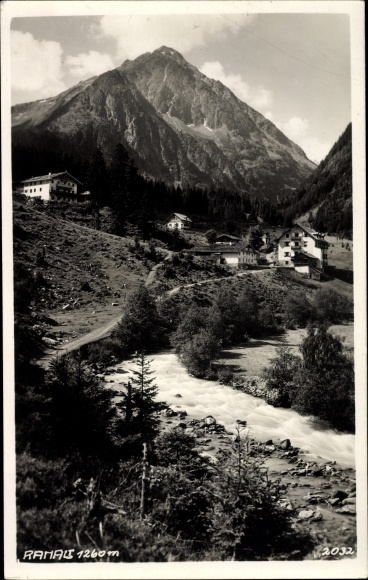 Ak Ranalt Neustift im Stubaital in Tirol, Wasserpartie, Gebirgsansicht