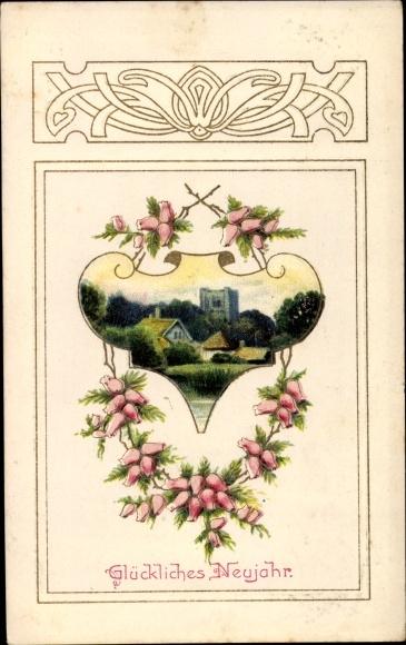 Passepartout Präge Litho Glückwunsch Neujahr, Häuser, Blüten