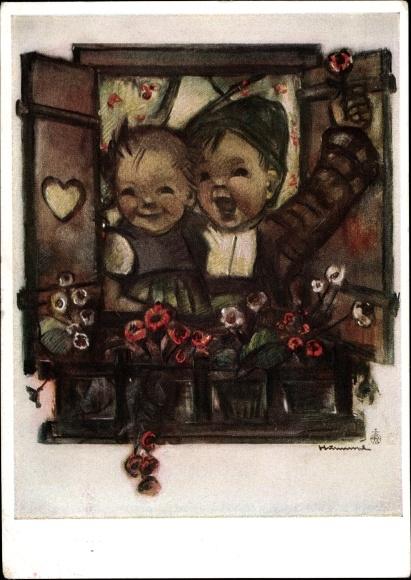 Kunstler Ak Hummel Berta Kinder Fenster Blumenkasten Nr 5325 Nr