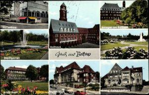Ak Bottrop im Ruhrgebiet Nordrhein Westfalen, Overbeckshof, Rathaus, Gemeindehaus, Gymnasium