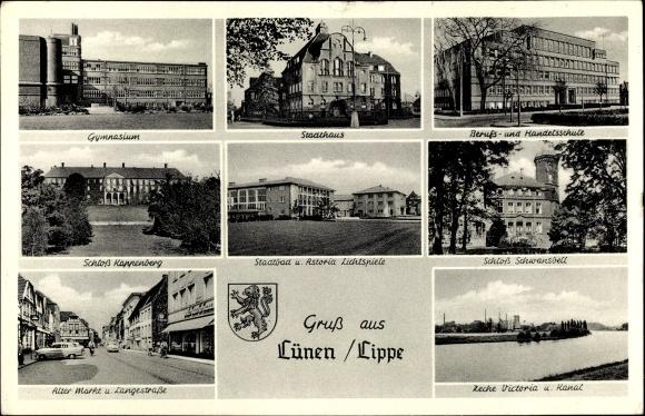 Ak Lünen in Nordrhein Westfalen, Gymnasium, Stadthaus, Berufs- u. Handelsschule, Schloss Kappenberg