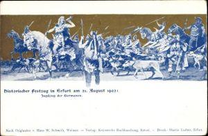 Künstler Ak Erfurt in Thüringen, Historischer Festzug 1902, Jagdzug der Germanen