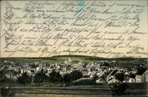 Ak Höhr Grenzhausen im Westerwaldkreis, Totalansicht von Ort