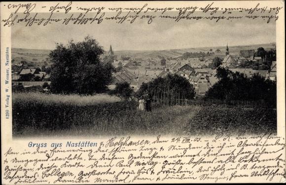 Ak Nastätten im Rhein Lahn Kreis, Totalansicht von Ort
