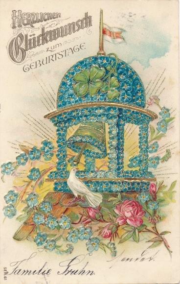 Präge Ak Glückwunsch Geburtstag, Pavillon aus Vergissmeinnicht, Kleeblätter, Glocke, Taube