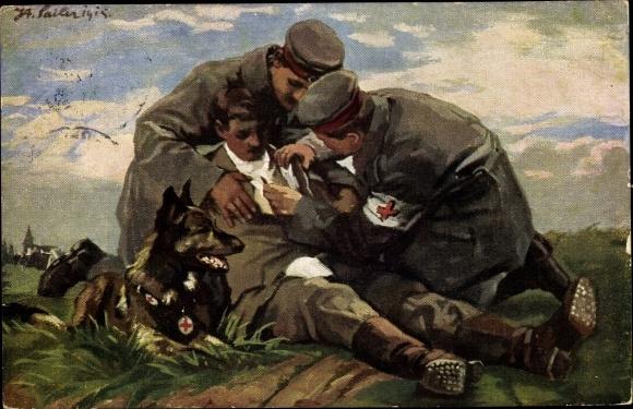 Künstler Ak Sailer, Verwundeter Soldat, Sanitätshund, Sanitäter