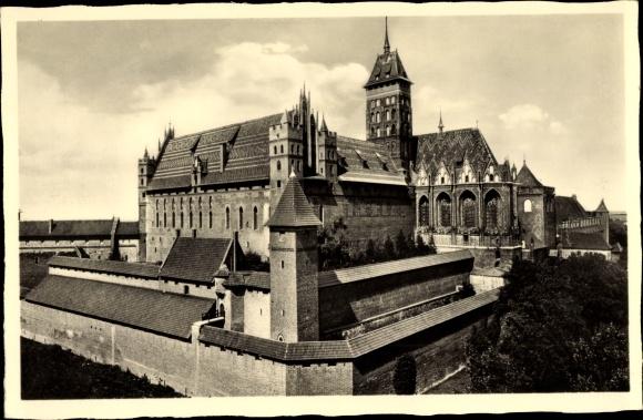 Ak Malbork Marienburg Westpreußen, Burg, Außenansicht, Hochschloss, Südostseite
