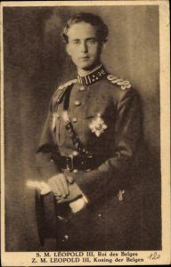 Ak König Leopold III. von Belgien, Portrait in Uniform